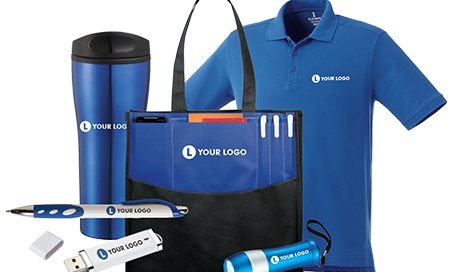 Promotional shirt, tumbler, flashlight , and bag