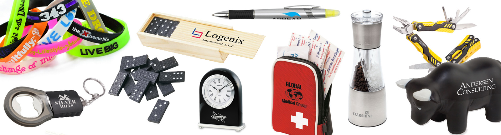 a display of various Promotional Products