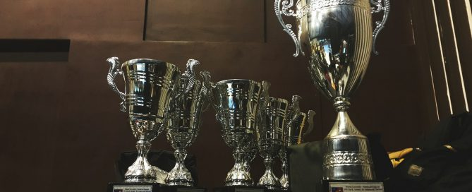 6 silver award trophies
